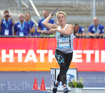 September 03, 2011 Olympic Stadium ,Berlin,Germany<br /> ISTAF (Internationales Stadionfest) IAAF World Challenge <br /> Javelin Throw Women,Germany`s  Christina Obergfoll wins the competition,end her career