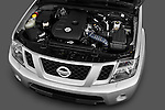 High angle engine detail of 2010 Nissan Navara LE 4 door Pick-Up Truck Stock Photo
