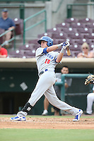 Tyler Marincov (18) of the Stockton Ports bats during a game against the Inland Empire 66ers at San Manuel Stadium on June 28, 2015 in San Bernardino, California. Stockton defeated Inland Empire, 4-1. (Larry Goren/Four Seam Images)