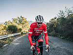 Trek-Segafredo presented their new race and training kits for the 2018 season today. The new pinstriped kits in red and high vis green were revealed at JSH Il Picciolo Etna Golf Resort in Sicily at the team&rsquo;s Media Day. Sicily, Italy 14th December 2017.<br /> Picture: Trek Factory Racing | Cyclefile<br /> <br /> <br /> All photos usage must carry mandatory copyright credit (&copy; Cyclefile | Trek Factory Racing)