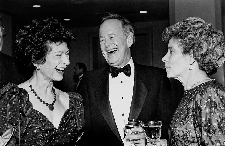 Emily Scheuer, Sen. Brock Adams, D-Wash. and wife Betty Adams. December 7, 1989. (Photo by Laura Patterson/CQ Roll Call)