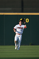 Mike Trout (27) of the Los Angeles Angels waits under a fly ball in the outfield during a rehab game for the Inland Empire 66ers against the Rancho Cucamonga Quakes at San Manuel Stadium on July 9, 2017 in San Bernardino, California. Inland Empire defeated Rancho Cucamonga 12-2. (Larry Goren/Four Seam Images)