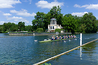 Henley on Thames, United Kingdom, 22nd June 2018, Friday,   &quot;Henley Women's Regatta&quot;,  view, Women's Championship Eights, 379<br /> Yale Univ (USA) (A)  <br /> V. Lienau, L. Lindsay, A. Warner, M. Saunders, A. Neski,<br /> A. Nordell, M. Swords, M. Mazzio-Manson, [Cox] A. Malzahn move past the Temple Island Folly, Henley Reach, River Thames, England, &copy; Peter SPURRIER/