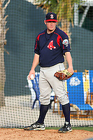 Alex Wilson #12 of the Salem Red Sox throwing in the bullpen before a game against the Myrtle Beach Pelicans on May 14, 2010 at BB&T Coastal Field in Myrtle Beach, SC.
