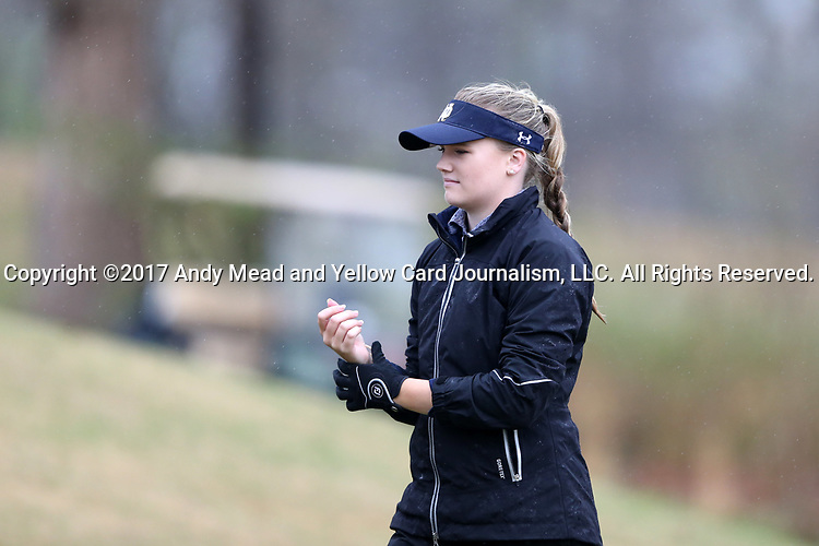 BROWNS SUMMIT, NC - MARCH 31: Notre Dame's Maddie Rose Hamilton prepares to tee off on the 12th hole. The first round of the Bryan National Collegiate Women's Golf Tournament was held on March 31, 2017, at the Bryan Park Champions Course in Browns Summit, NC. A waterlogged course eventually suspended play.