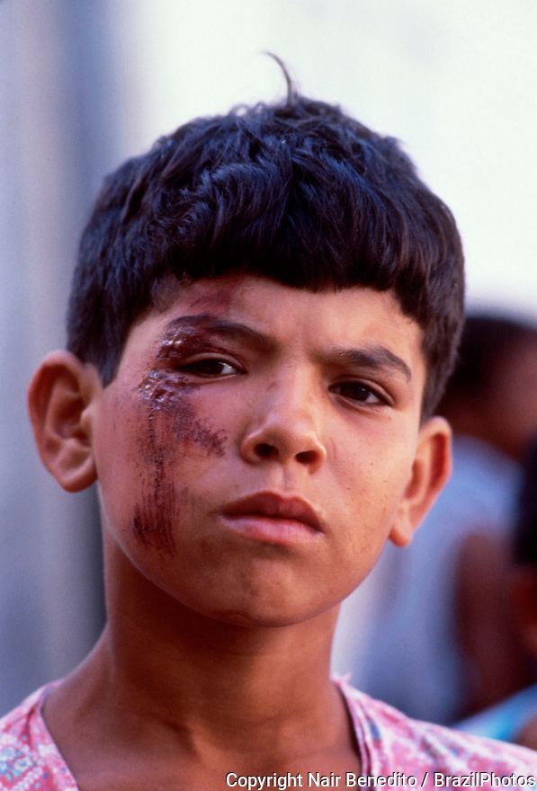 São Paulo, Brazil. Police violence against street child. Violence in Detention.