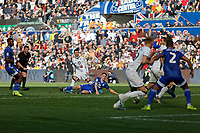 Bersant Celina of Swansea City (C) has his shot blocked during the Sky Bet Championship match between Swansea City and Cardiff City at the Liberty Stadium, Swansea, Wales, UK. Sunday 27 October 2019