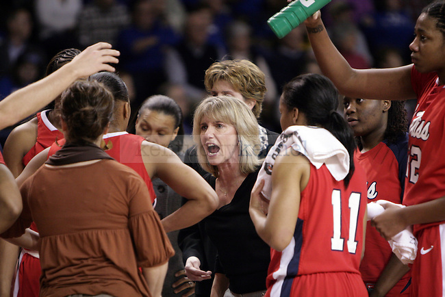Ole Miss head coach Renee Ladner yells at her team in the first half of UK's game against Ole Miss on Thursday evening. Photo by William Baldon | Staff