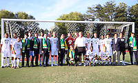 FIFA delegation poses with George Mason team during the visit of the FIFA World Cup 2018-2022 inspection delegation to George Mason University soccer practice facility.