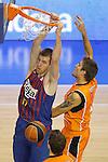 Baloncesto Fuelabrada's Javier Vega (r) and FC Barcelona Regal's Fran Vazquez during Liga Endesa ACB match.October 30,2011. (ALTERPHOTOS/Acero)