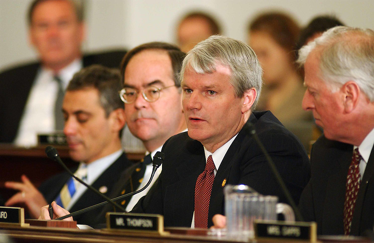 3/12/03.MARKUP OF THE BUDGET RESOLUTION FOR FISCAL YEAR 2004--Rep. Brian Baird, D-Wash., speaking, during the House Budget markup of the budget resolution. Other members are: Rahm Emanuel, D-Ill., Jim Cooper, D-Tenn., and Mike Thompson, D-Calif..CONGRESSIONAL QUARTERLY PHOTO BY SCOTT J. FERRELL