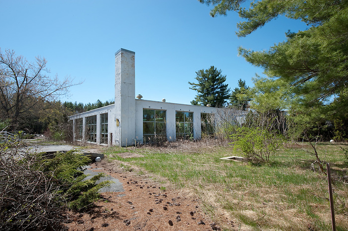 Outside View of an Interior Pool Building at an abandoned Resort in the Catskills