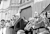27 dicembre 1984, Piazza Maggiore a Bologna: funerali delle vittime della strage del Rapido 904 nota come strage di Natale. Da sinistra Renzo Imbeni, Sandro Pertini, Oscar Luigi Scalfaro, Nilde Iotti<br /> December 27, 1984, Piazza Maggiore in Bologna: funeral of the victims of the Rapido 904 massacre known as Christmas massacre. From left Renzo Imbeni, Sandro Pertini, Oscar Luigi Scalfaro, Nilde Iotti