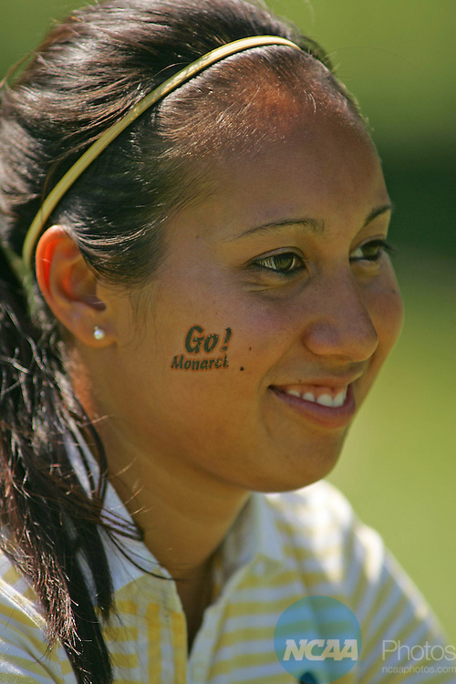 12 MAY 2006: Charlotte Williams of Methodist College shows her school spirit during the Division 3 WomenÕs Golf Championship held at the El Campeon Golf Course at the Mission Inn Golf and Tennis Resort in Howey-in-the-Hills, FL.  Williams won the individual title and her team finished first in the team competition..Chris Livingston/NCAA Photos