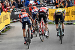 Domenico Pozzovivo and Vincenzo Nibali (ITA) Bahrain-Merida, Bauke Mollema (NED) Trek-Segafredo and Primoz Roglic (SLO) Team Jumbo-Visma round final corner at the end of Stage 17 of the 2019 Giro d'Italia, running 181km from Commezzadura (Val di Sole) to Anterselva / Antholz, Italy. 29th May 2019<br /> Picture: Fabio Ferrari/LaPresse | Cyclefile<br /> <br /> All photos usage must carry mandatory copyright credit (© Cyclefile | Fabio Ferrari/LaPresse)