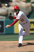05/06/12 Anaheim, CA: Los Angeles Angels relief pitcher Scott Downs #37 during an MLB game against the Toronto Blue Jays played at Angel stadium. The Angels defeated the Blue Jays 4-3
