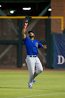 AZL Cubs right fielder Jonathan Sierra (22) prepares to catch a fly ball during Game Three of the Arizona League Championship Series against the AZL Giants on September 7, 2017 at Scottsdale Stadium in Scottsdale, Arizona. AZL Cubs defeated the AZL Giants 13-3 to win the series two games to one. (Zachary Lucy/Four Seam Images)
