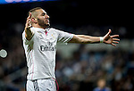 Real Madrid´s french forward Karim Benzema celebrates a goal during the Champions league football match Real Madrid vs Schalke 04 at the Santiago Bernabeu stadium in Madrid on march 10, 2015. Samuel de Roman / Photocall3000.