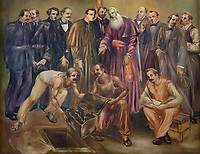 Discovery of the remains of Christopher Columbus in the Cathedral, painting, 1988, detail, by Juan Medina Ramirez, in the Catedral Nuestra Senora de la Encarnacion, or the Basilica Cathedral of Santa Maria la Menor, dedicated to St Mary of the Incarnation, built 1514-35 in Renaissance and Gothic style, in the Colonial Zone of Santo Domingo, capital of the Dominican Republic, in the Caribbean. The building is also known as the Catedral Primada de America as it is the oldest cathedral in the Americas. Santo Domingo's Colonial Zone is listed as a UNESCO World Heritage Site. Picture by Manuel Cohen
