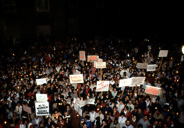 Candlelight vigil against rape and violence against women after the gang rape of a woman on a pool table at big Dan's Tavern in New Bedford  MA 3.14.83
