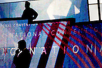 8/24/08 2:47:59 PM -- Denver, CO, U.S.A. -- Democratic National Convention -- .Security stands on the stage inside the Pepsi Center as workers and production crew put on the final touches for the Democratic National Convention in Dever...Photo by Pat Shannahan, Gannett.