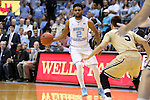 18 November 2015: North Carolina's Joel Berry II (2) and Wofford's Eric Garcia (5). The University of North Carolina Tar Heels hosted the Wofford College Terriers at the Dean E. Smith Center in Chapel Hill, North Carolina in a 2015-16 NCAA Division I Men's Basketball game. UNC won the game 78-58.