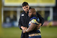 Elliott Stooke and Beno Obano of Bath Rugby after the match. Aviva Premiership match, between Bath Rugby and Exeter Chiefs on March 23, 2018 at the Recreation Ground in Bath, England. Photo by: Patrick Khachfe / Onside Images