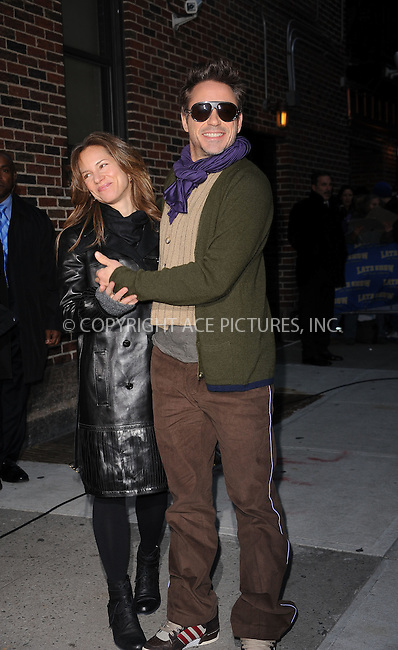 WWW.ACEPIXS.COM . . . . . ....December 16 2009, New York City....Actor Robert Downey, Jr. (R) and wife Susan Downey made an appearance at 'The Late Show with David Letterman' on December 16 2009 in New York City....Please byline: KRISTIN CALLAHAN - ACEPIXS.COM.. . . . . . ..Ace Pictures, Inc:  ..(212) 243-8787 or (646) 679 0430..e-mail: picturedesk@acepixs.com..web: http://www.acepixs.com