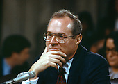 Judge Anthony M. Kennedy testifies before the United States Senate Judiciary Committee on his nomination as Associate Justice of the US Supreme Court to replace retiring Justice Lewis F. Powell Jr. on Capitol Hill in Washington, DC on Tuesday, December 15, 1987.<br /> Credit: Ron Sachs / CNP
