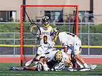 Tustin, CA 04/23/16 - Austin Mann (Foothill #0), Tony Crognale (Foothill #18), unidentified Foothill player(s) and \lu\ in action during the non-conference CIF varsity lacrosse game between La Costa Canyon and Foothill at Tustin Union High School.  Foothill defeated La Costa Canyon 10-9 in sudden death overtime.