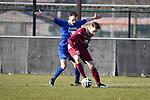 2018-02-18 / Voetbal / Seizoen 2017-2018 / Wuustwezel - Olmen / Jelle Claes (l. Olmen) met Roel Jongenelis<br /> <br /> ,Foto: Mpics.be