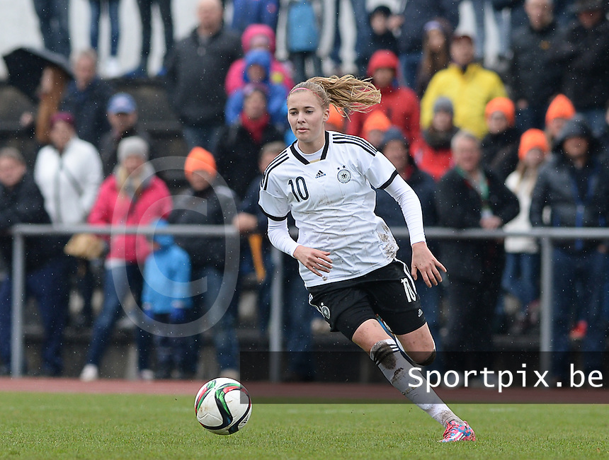 20150404 - FORST , GERMANY  : German Laura Freigang pictured during the soccer match between Women Under 19 teams of Germany and Scotland , on the first matchday in group 5 of the UEFA Elite Round Women Under 19 at WaldseeStadion , Forst , Germany . Saturday 4th April 2015 . PHOTO DAVID CATRY