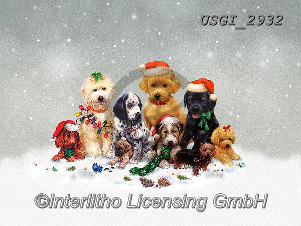 GIORDANO, CHRISTMAS ANIMALS, WEIHNACHTEN TIERE, NAVIDAD ANIMALES, paintings+++++,USGI2932,#xa# ,dog,dogs