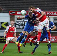 Fleetwood Town's Cian Bolger heads at goal <br /> <br /> Photographer Andrew Kearns/CameraSport<br /> <br /> The Carabao Cup First Round - Fleetwood Town v Carlisle United Kingdom - Tuesday 8th August 2017 - Highbury Stadium - Fleetwood<br />  <br /> World Copyright &copy; 2017 CameraSport. All rights reserved. 43 Linden Ave. Countesthorpe. Leicester. England. LE8 5PG - Tel: +44 (0) 116 277 4147 - admin@camerasport.com - www.camerasport.com