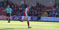 Fleetwood Town's Ashley Hunter celebrates scoring his side's second goal from the penalty spot in the last minute of the match to earn his side a 2-2 draw<br /> <br /> Photographer Stephen White/CameraSport<br /> <br /> The EFL Sky Bet League One - Fleetwood Town v Oldham Athletic - Saturday 9th September 2017 - Highbury Stadium - Fleetwood<br /> <br /> World Copyright &copy; 2017 CameraSport. All rights reserved. 43 Linden Ave. Countesthorpe. Leicester. England. LE8 5PG - Tel: +44 (0) 116 277 4147 - admin@camerasport.com - www.camerasport.com