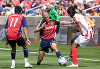 Real Salt Lake Defender Chris Wingert (17) and Midfielder Javier Morales (11) fight to keep the ball from Austin Aztex Midfielder Sullivan Silva (7) in the Real Salt Lake 3-1 win over Austin Aztex, March 21, 2009 at Rio Tinto Stadium in Sandy, Utah.