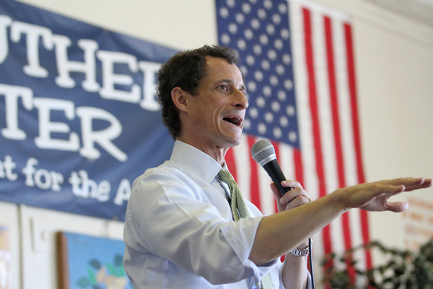 Anthony Weiner speaks to seniors during a visit to the JASA Roy Reuther Senior Center on Wednesday, August 14, 2013 in New York. (AP Photo/ Donald Traill)