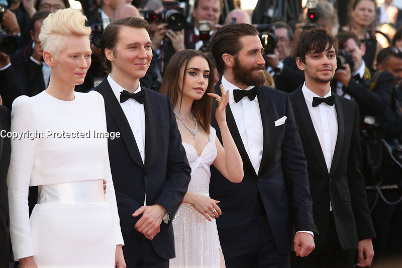 TILDA SWINTON, PAUL DANO, LILY COLLINS, JAKE GYLLENHAAL AND DEVON BOSTICK - RED CARPET OF THE FILM 'OKJA' AT THE 70TH FESTIVAL OF CANNES 2017