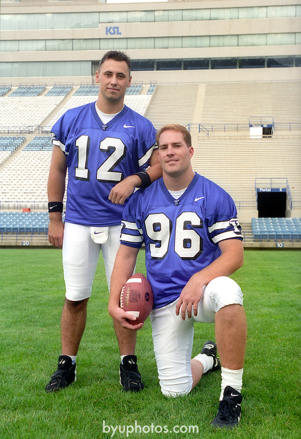 FTB 1900 O 13<br /> <br /> Football Photoday<br /> <br /> Chad Lewis 96<br /> Steve Sarkisian 12<br /> <br /> August 3, 1996 <br /> <br /> &copy; BYU PHOTO 2009<br /> All Rights Reserved<br /> photo@byu.edu  (801)422-7322