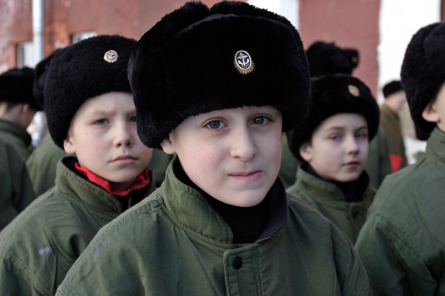 Kronstadt, Russia, 21/02/2004..11 year old Ivan Mishukov is a student at the Naval Kadetskii Korpus, the school of the elite Kronstadt Naval Academy. Abandoned by his alcoholic parents at the age of 3, Ivan lived for 2 years with a pack of wild dogs in his home town of Reutov before being rescued by police and taken to a children's home; he was subsequently adopted by Tatiana Bababina.
