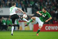 FUSSBALL   1. BUNDESLIGA    SAISON 2012/2013    8. Spieltag   SV Werder Bremen - Borussia Moenchengladbach  07.10.2012 Patrick Herrmann (Borussia Moenchengladbach) gegen Lukas Schmitz (re, SV Werder Bremen)
