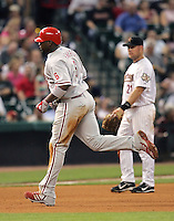 Philadelphia Phillies 1B Ryan Howard rounds the bases after he hit a HR on Thursday May 22nd at Minute Maid Park in Houston, Texas. Photo by Andrew Woolley / Four Seam Images..