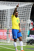 27th March 2018, Olympiastadion, Berlin, Germany; International Football Friendly, Germany versus Brazil; Paulinho  (Brazil) celebrates the goal from Jesus