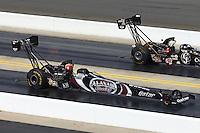 Sep 15, 2013; Charlotte, NC, USA; NHRA top fuel dragster driver Shawn Langdon during the Carolina Nationals at zMax Dragway. Mandatory Credit: Mark J. Rebilas-