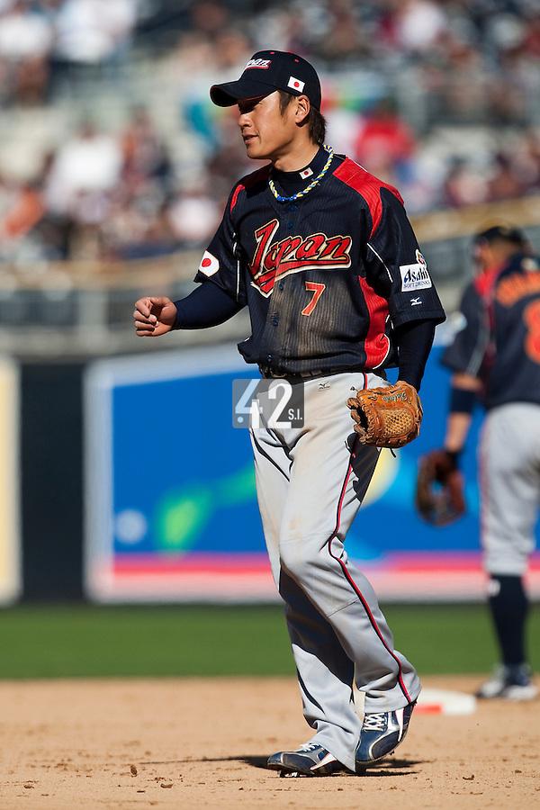 15 March 2009: #7 Yasuyuki Kataoka of Japan is seen during the 2009 World Baseball Classic Pool 1 game 1 at Petco Park in San Diego, California, USA. Japan wins 6-0 over Cuba.