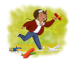 Illustrative image of boy flying toy airplane representing aspiration
