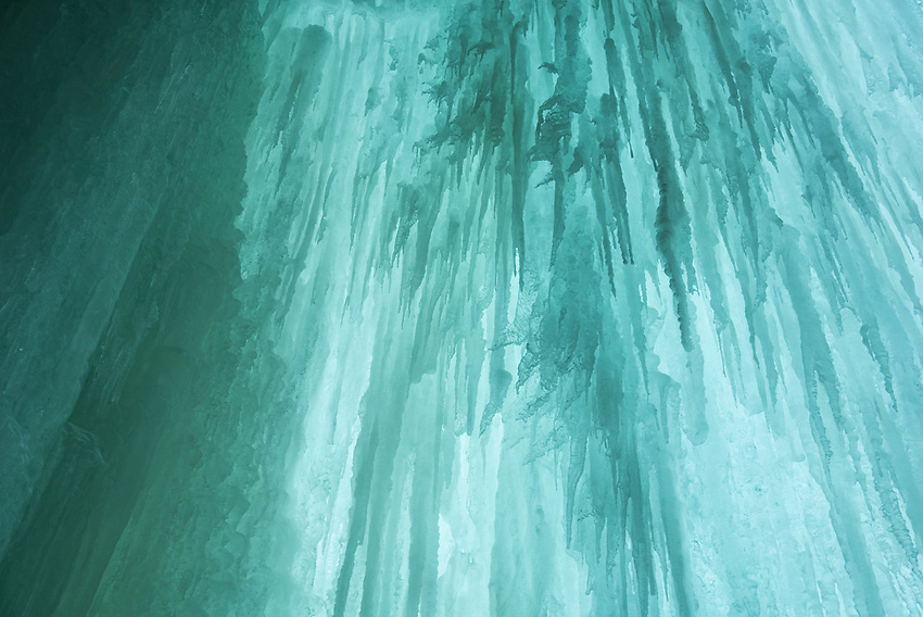 Detail of blue green ice formation at Pictured Rocks National Lakeshore in Munising, Michigan.