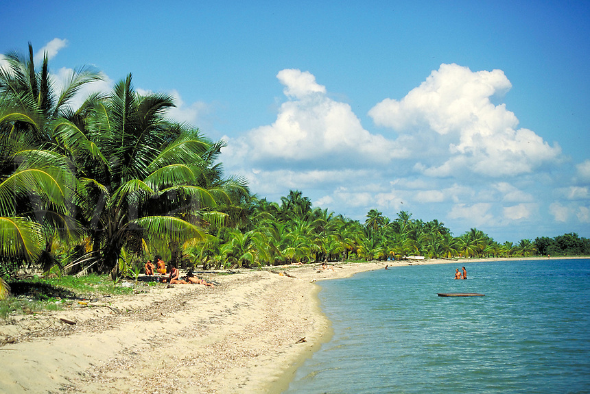 The beach Placencia, Belize. Placencia, Belize Central America.