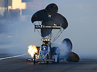 Feb 12, 2016; Pomona, CA, USA; NHRA top fuel driver Dave Connolly ha an engine fire during qualifying for the Winternationals at Auto Club Raceway at Pomona. Mandatory Credit: Mark J. Rebilas-USA TODAY Sports