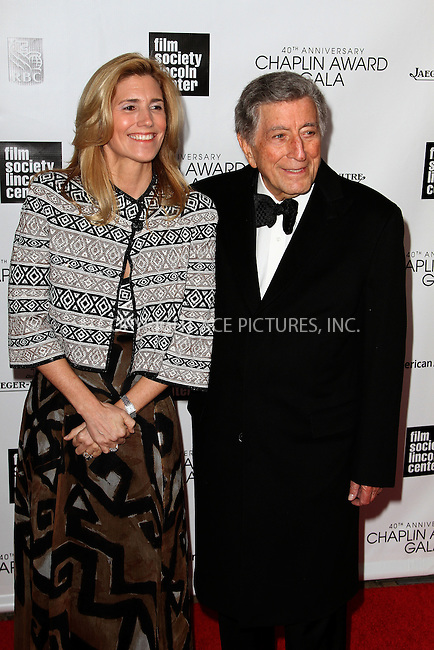 WWW.ACEPIXS.COM....April 22 2013, New York City....Susan Crow and Tony Bennett arriving at the 40th Anniversary Chaplin Award Gala at Avery Fisher Hall at the Lincoln Center on April 22, 2013 in New York City.....By Line: Zelig Shaul/ACE Pictures......ACE Pictures, Inc...tel: 646 769 0430..Email: info@acepixs.com..www.acepixs.com